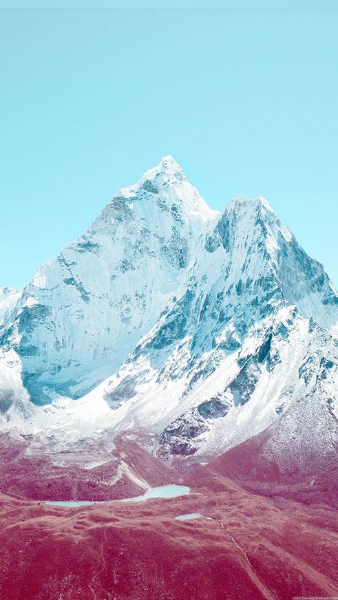 Apple iOS7 Stock Lock Screen Mountains Wallpaper