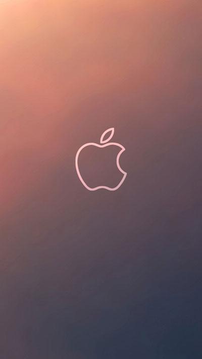 Simple Gradient Apple Logo Outline Wallpaper