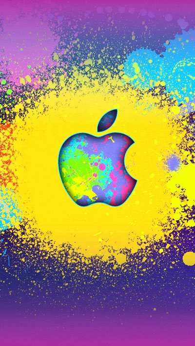 Abstract Yellow Apple iPhone Wallpaper