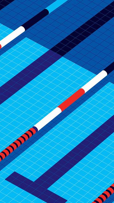 Minimal Art Malikafavre, Swim Blue illustration, Art Wallpaper