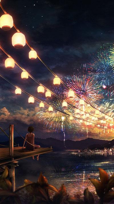 Firework Girl Dark, Night Anime Art, illust Phone Wallpaper
