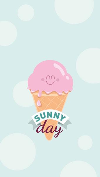 Sunny Day Icecream, Illustration iPhone SE Wallpaper