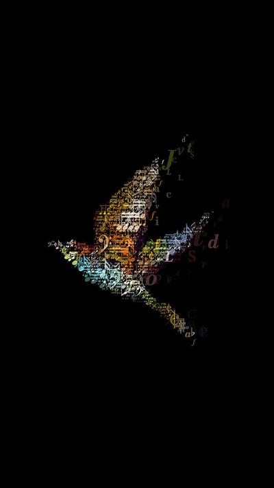 Илюстрация, Музикална Птица в тъмното, Тапет за телефон