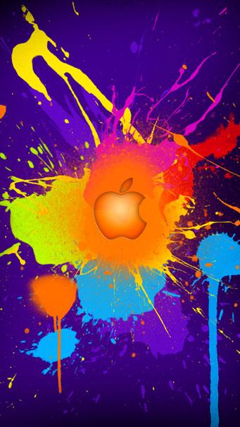 Лого Apple разлята цветна боя Тапет за телефон