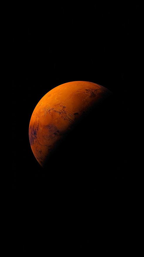 Mars planet apple dark space orange Phone Wallpaper