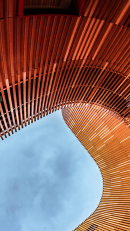 Building architecture, wood red pattern