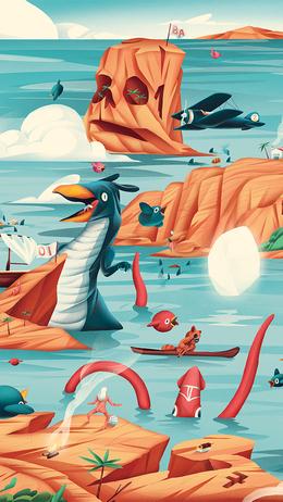 Gaming world illustration art