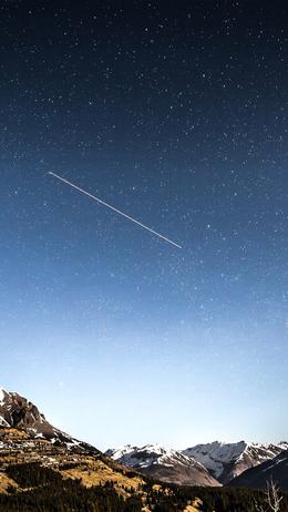 Shooting star night sky starry mountain