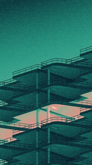 Architecture minimal green illustration art