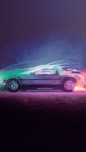 Back to the Future car film art night cool