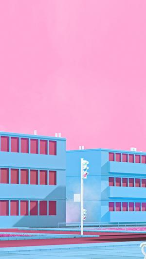 school-anime-illust-blue-minimal-simple-art