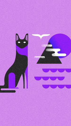 Art-cat-illust-minimal-simple-purple