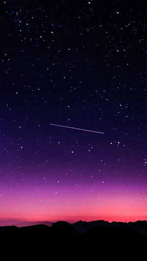 star-galaxy-night-sky-mountain-purple-pink-nature-space